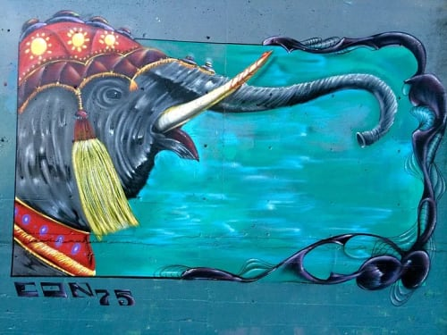 Murals by Max Ehrman (Eon75) seen at Sacramento, Sacramento - Elephant Love