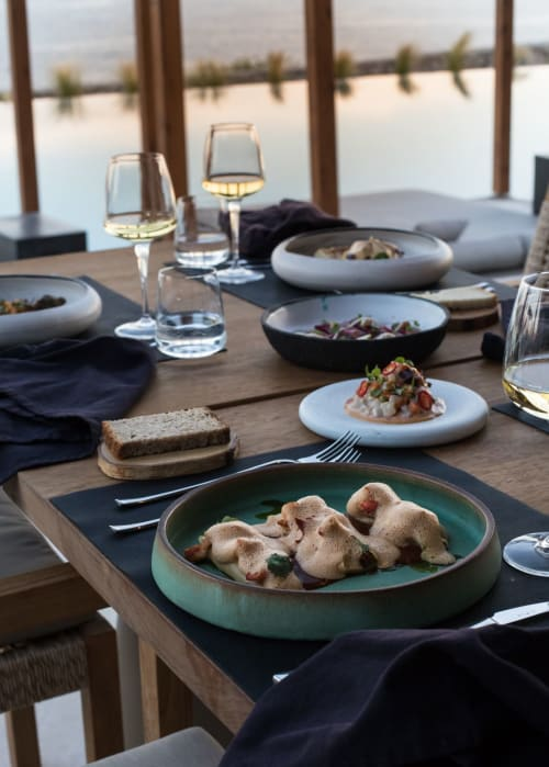 Ceramic Plates by Homatino ceramics seen at Rocabella Mykonos Art Hotel & SPA, Agios Stefanos - Green dinner plate