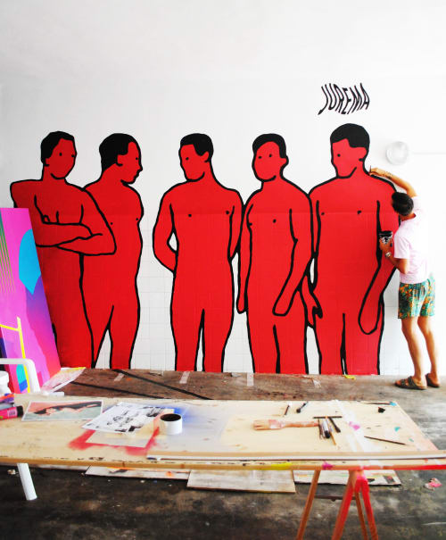 Street Murals by Jurèma seen at Costa dels Pins, Costa dels Pins - Red Boys