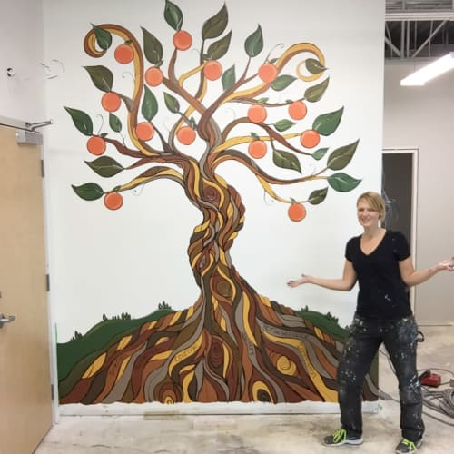 Murals by April Lacheur seen at LIVE WELL Exercise Clinic, Surrey - Tree