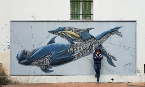 Murals by Ardif seen at Mouans-Sartoux, Mouans-Sartoux - Pilot Whale Mechanimal