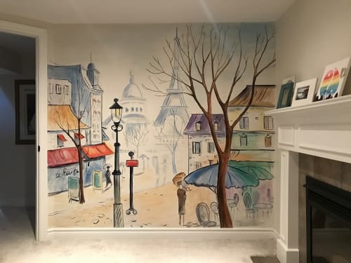 Murals by Murals By Marg seen at Private Residence, Hamilton - Hand Painted Mural of Illustration of Paris, France