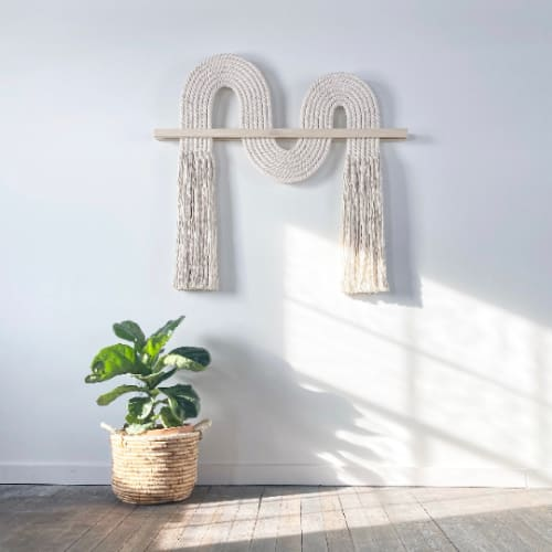 "Wall Hangings by Candice Luter Art & Interiors seen at Private Residence, Cedar Rapids - ""Ebb"" Textile FiberArt, Fringe Scandi Macrame"