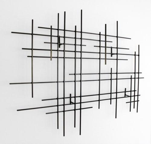 "Sculptures by Karo Studios at Los Angeles, Los Angeles - ""Linear I"" Metal Wall Art Sculpture"