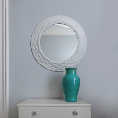 """Art & Wall Decor by STEFAN HEPNER / STUDIO seen at Private Residence, Brooklyn - 'Paper moon"""" mirror"""