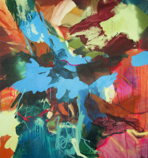 """Paintings by Nicole Mueller seen at Inner Harbor, Baltimore - """"Inside Out"""" at Harbor Point"""