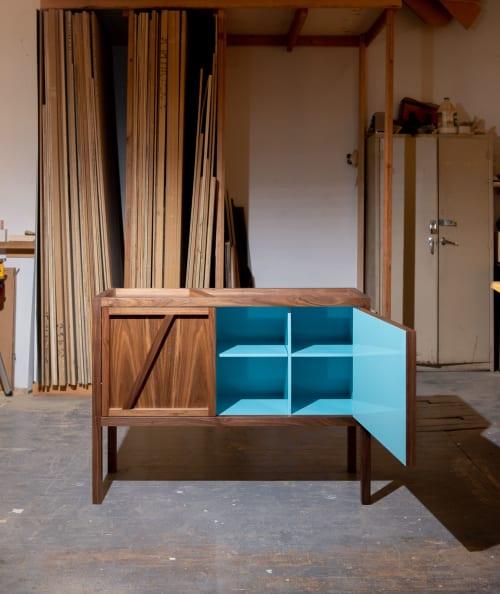 Furniture by Sergio Mannino Studio seen at Creator's Studio, Brooklyn - Inside-Out Corto, Sideboard Cabinet, Cerulean Blue