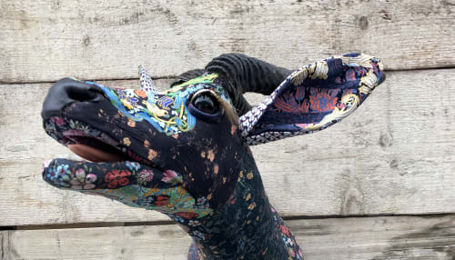 Sculptures by Carola Van Dyke Studio seen at Private Residence, Hastings - Textile Taxidermy springbok in Liberty London Fabrics