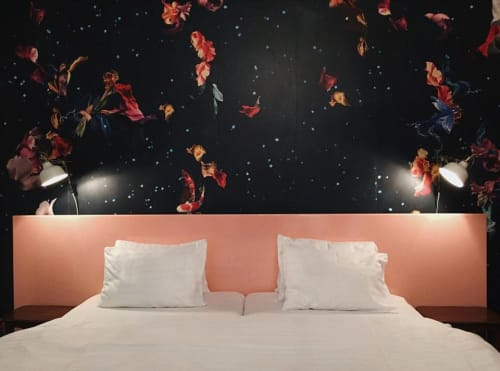 Murals by Elisa Vendramin seen at Hotel am Brillantengrund, Wien - BURIED BONES / Wallpaper