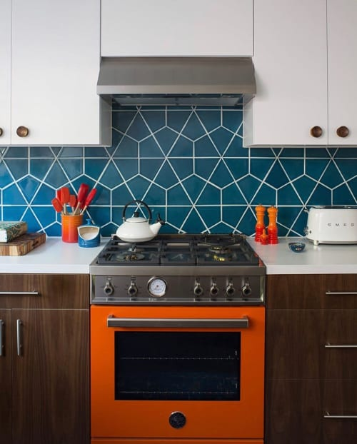 Tiles by Fireclay Tile seen at Private Residence, Los Angeles - Adriatic Sea Hexite