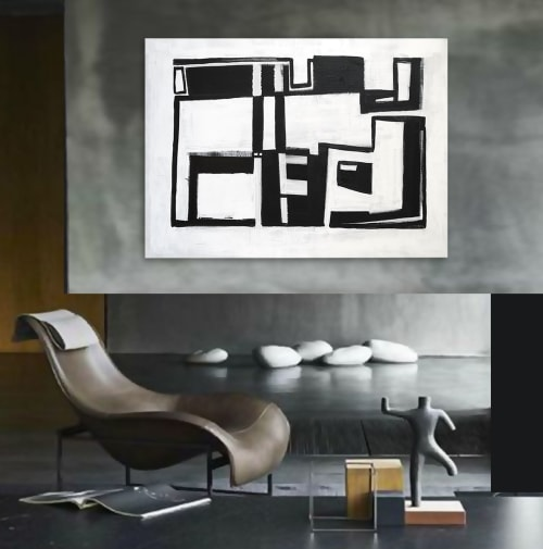 Paintings by Linnea Heide contemporary fine art seen at Private Residence, Paris - 'MARCEL' original abstract painting by Linnea Heide