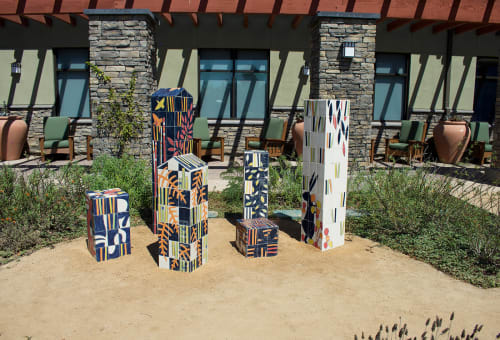 "Street Murals by Martin Webb seen at Senior Center in Central Park, Huntington Beach - ""From The Earth"""