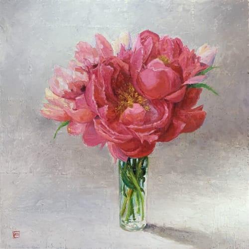 Paintings by Lisa Gleim Fine Art seen at Private Residence, Atlanta - Pink Peonies