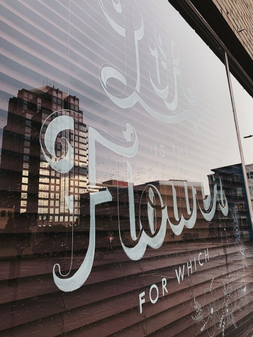 Murals by Marley Soden seen at Local Honey Salon, Greensboro - Life is the Flower, For Which Love is the Honey