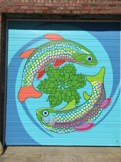 Murals by Tobias Studios seen at Fort Wayne, Fort Wayne - Rainbow & Brook Trout