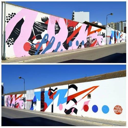 Murals by Tiago Hesp seen at Rua Pintor Carlos Porfirio, Faro - A Pesca e o Peixe