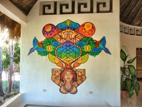 Art Curation by Burgandy Viscosi seen at Hotel Okaan, Chichén Itzá - Hotel Okaan Mural
