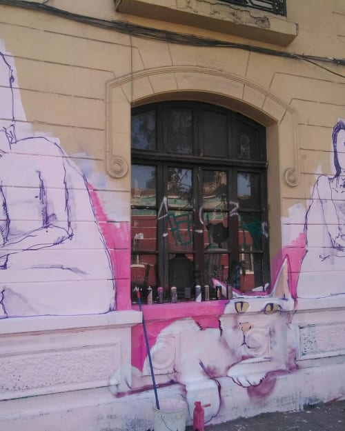 Street Murals by COAS seen at Barrio Yungay, Santiago - Mural