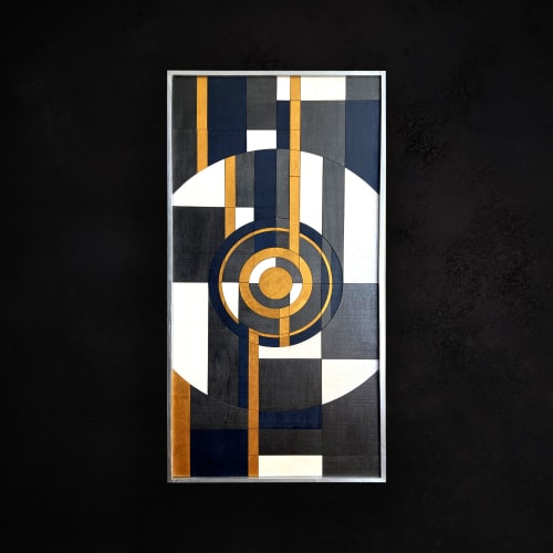 Abstract Geometric Wood Wall Art with Navy and Gold | Wall Hangings by Skal Collective