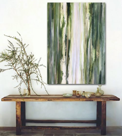 Paintings by Linnea Heide contemporary fine art seen at Private Residence - 'FOREST' original abstract painting by Linnea Heide