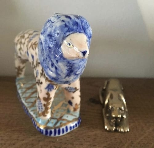 Sculptures by BIRDCANFOX seen at Potters, Bristol - Italian Lions