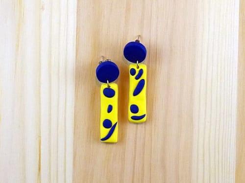 "Apparel & Accessories by The Wavering Line - Artist: Ky Novak seen at Little Piece Of My Heart, Loveland - Modern, Bold Earrings - ""Speckle Drop"""