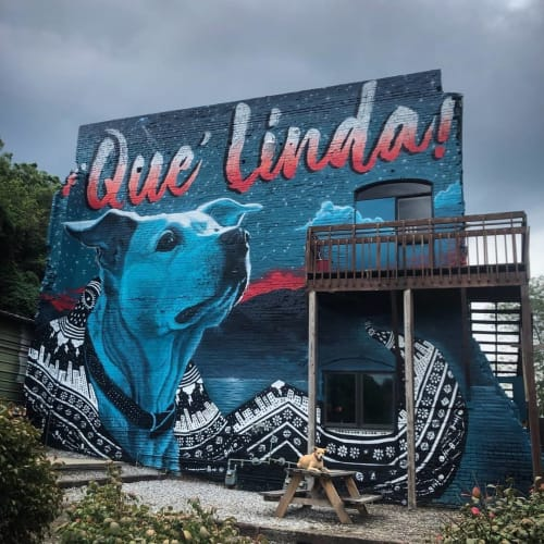 "Murals by Andy Herod seen at Asheville Cotton Mill Studios, Asheville - ""Mural of Linda"""