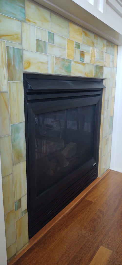 Fireplaces by JK Mosaic, LLC - Stained glass fireplace surround