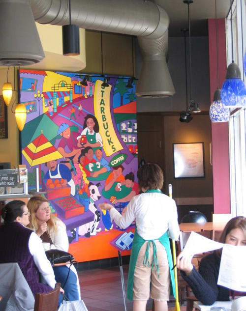 Paintings by Sara Mordecai seen at San Francisco Bay Area - Starbucks