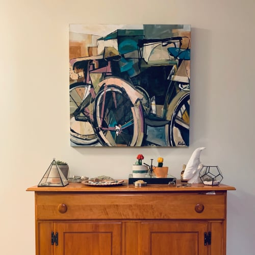 Paintings by Katie Lois Leahul seen at Private Residence, Canmore - Plum & Blue Bike