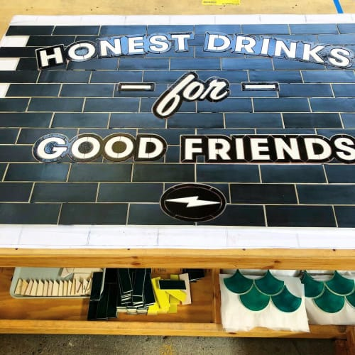"Art & Wall Decor by Mercedes Austin Art seen at Mercury Mosaics, Minneapolis - ""Honest Drinks for Good Friends"" Mosaic"
