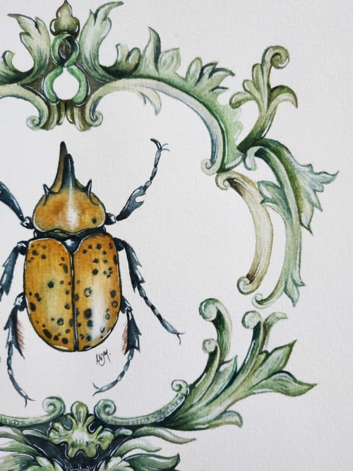 Art Curation by Nussay watercolor seen at Private Residence, Seville - Hercules beetle