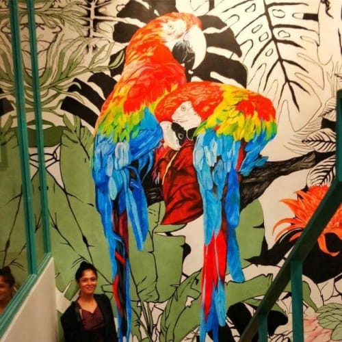 Murals by Yamini Reddy seen at N G Associates, Bengaluru - Theme: Tropical | Client: NG Associates | Size: 22ft tall x 11.5ft wide