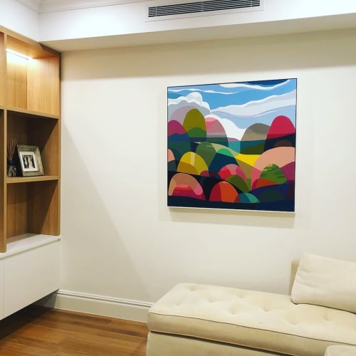 Paintings by Greta Laundy seen at Private Residence, Sydney - Seaview, framed acrylic on canvas, 2019