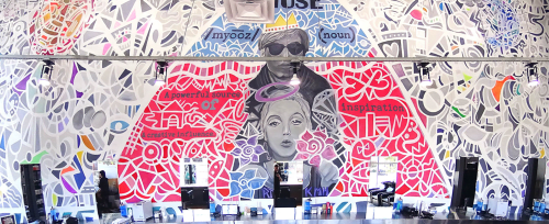 Murals by Kelly Marie Hogan:  Posi+ive Ar+ seen at Ziggy's Hair L.A., Culver City - MUSE