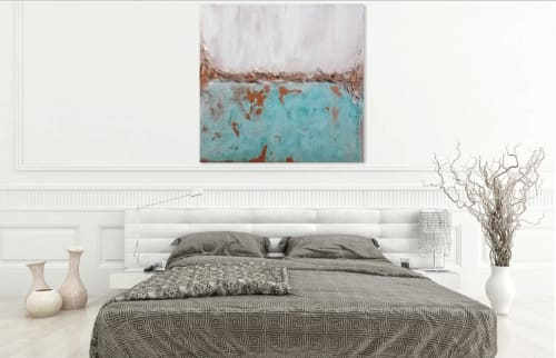 Paintings by León Dragón - Real Copper Original Abstract Painting Extra Large Canvas