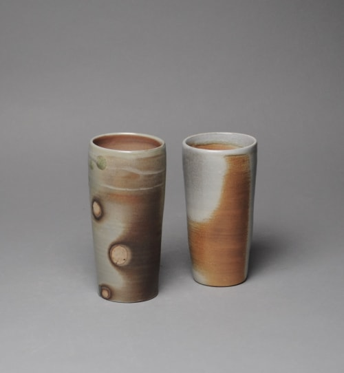 Cups by John McCoy Pottery seen at Private Residence, McMinnville - Tumbler set Wood Fired