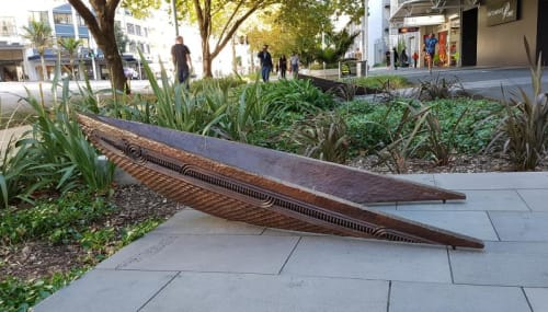 Public Sculptures by Chris Bailey seen at Beach Road, Auckland - Tauranga Waka