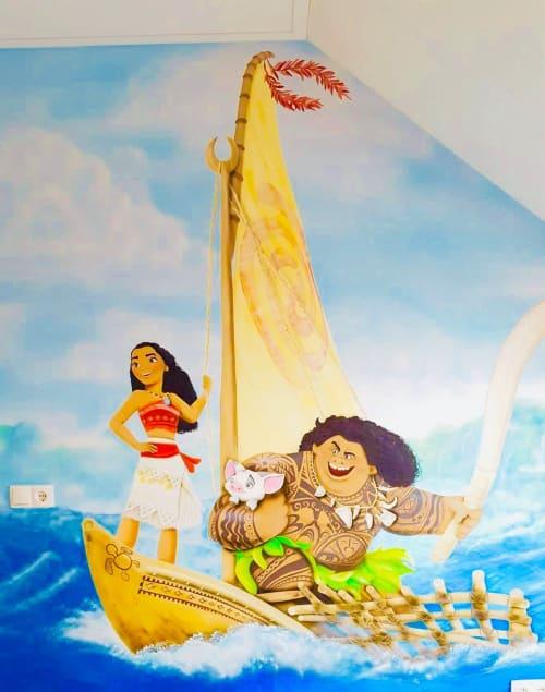 Murals by Lia Art seen at Private Residence, Newport Beach - Disney mural
