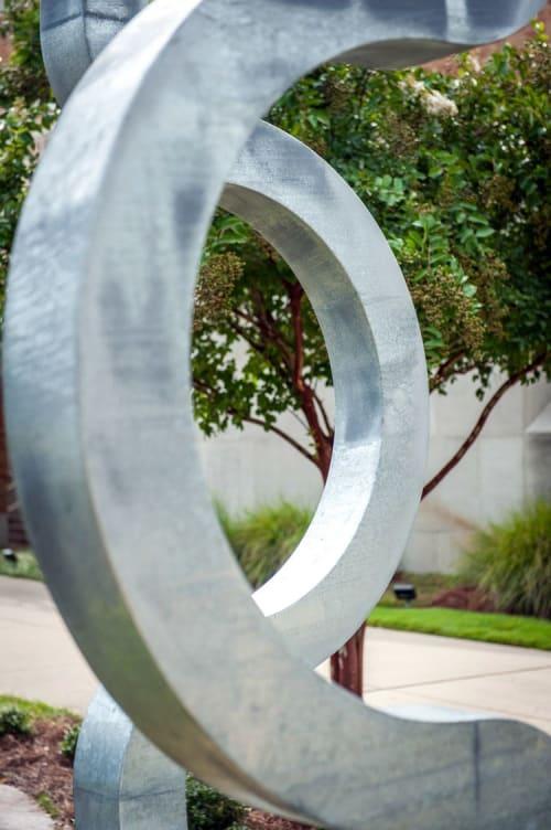 "Public Sculptures by Ben Pierce seen at Delta State University, Cleveland - ""the arrangement of 3 circles"""