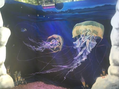 Murals by Annie Kyla Bennett Art seen at Hulaween 2018, Live Oak - Lifting the Veil mural