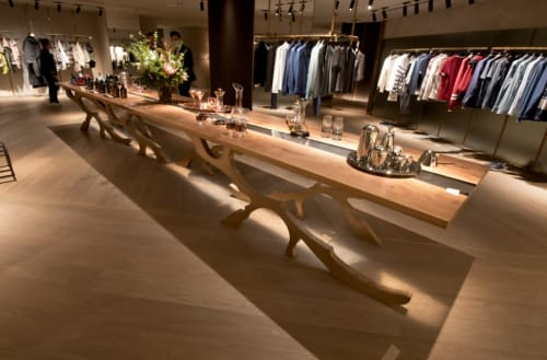 Tables by Sprue Bespoke Furniture seen at Central Building - Grey Tinted River Walnut Display Table