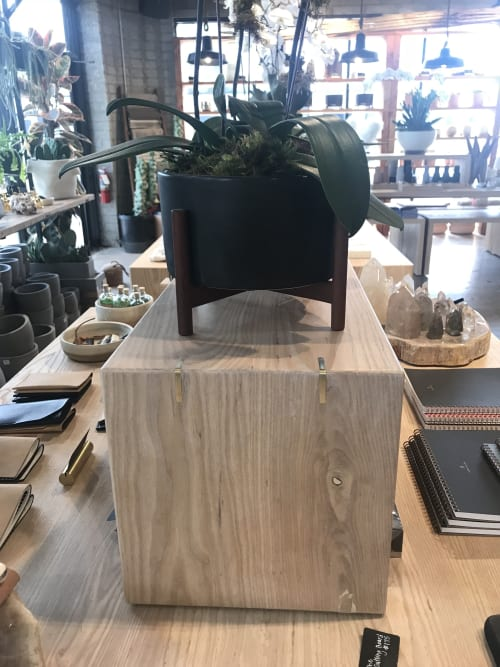 Tables by 6 X 6 Designs seen at 4214 E Indian School Rd, Phoenix - Solid Ash rolling tables with brass inlay