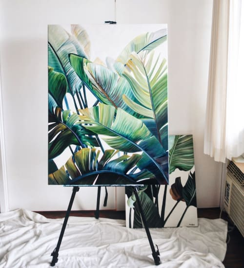 Paintings by Mae Waite seen at Private Residence, Kailua - Banana Palms