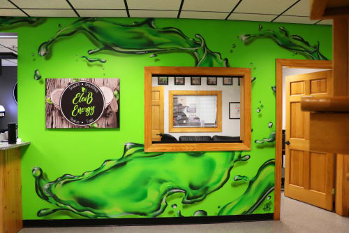 Murals by Jared Goulette | The Color Wizard seen at Midcoast Athletics Center, Warren - Elev8 Energy mural