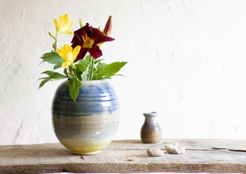 Vases & Vessels by Twinette Poterie seen at Private Residence, St. Charles - Large Round Vase in Washed Azure Blue