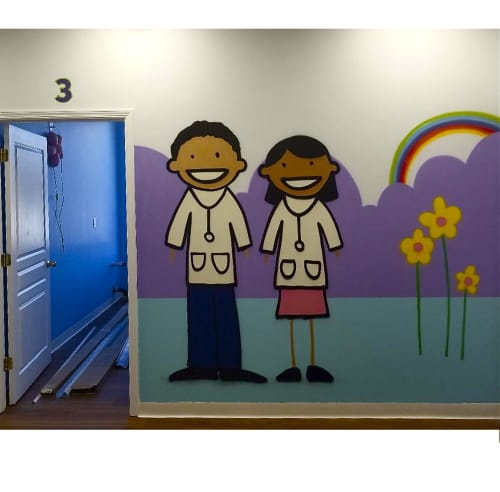 Murals by ZIMAD seen at 4 Forest Ave, Paramus - pediatric clinic