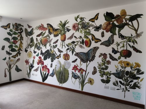 Murals by Retrollage seen at Private Residence, San Isidro - Retrollage mural for Beatrice