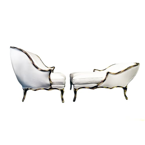 Couches & Sofas by Sergio Villa Mobilitaly seen at Private Residence, New York - Vis a Vis Chaise Longue and Armchair