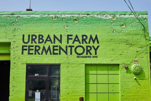 Murals by Jared Goulette | The Color Wizard seen at Urban Farm Fermentory & Gruit Brewing Co., Portland - Urban Farm Fermentory exterior Mural